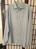 Armani Collezioni Italy Cotton stripe blue dress shirt 17.5 44