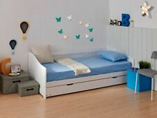 Bed solidWood White Single 3ft Day Bed children Trundle Guest Solid Frame Daybed