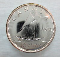 1962 CANADA 10 CENTS PROOF-LIKE SILVER DIME COIN