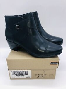 Clarks Collection Women's Emily Leather Heeled Ankle Boots - Navy US 10W