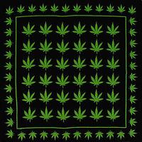 100% Cotton Bandana Black Green Hemp Design Bandanna Head Wear Bands Scarf Neck