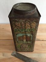 Antique Birk's Candies lithograph candy tin Chicago, IL drawing of a factory