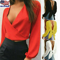 Womens Ladies V Neck Long Sleeve Blouse Tops Backless Lace Up Crop Top T Shirt