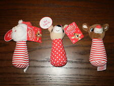 NEW! Set 3 CHRISTmas Baby Rattles! Rudolph, Clarice & Santa! Collectors or Gift