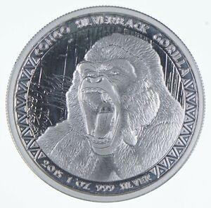 2015 The Congo 5000 Francs - 1 Oz. Silver Gorilla - Walker Coin Collection *980