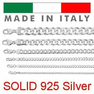 Real Solid 925 Sterling Silver Cuban Chain Men's Women's 2-16mm Italy Necklace