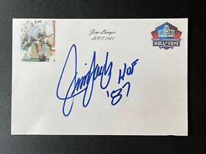 Jim Langer Signed Miami Dolphins HOF 4x6 Index Card 17-0 Auto Autograph
