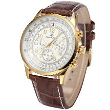 KS Luxury Men's Aviator White Automatic Mechanical Date Day Leather Wrist Watch