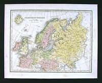 1835 Bradford Map - Northern Europe Germany Sweden Norway Holland Britain Russia