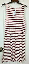 H&M Tank Dress Medium White Burgundy Striped Elastic Waist Basic Cover Up NWT