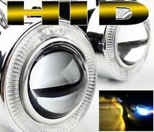"UNIVERSAL 3"" BUMPER HALO PROJECTOR LED FOG LIGHT W/ 3000K H11 HID KIT COMBO"