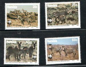 1991   NAMIBIA  -  SG  572/75 -  W.W.F. - MOUNTAIN ZEBRA   -  UNMOUNTED MINT