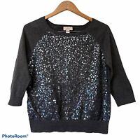 Ann Taylor Loft Womens Sweater Sz Medium Gray Sequin 3/4 Sleeve Cotton Knit Top