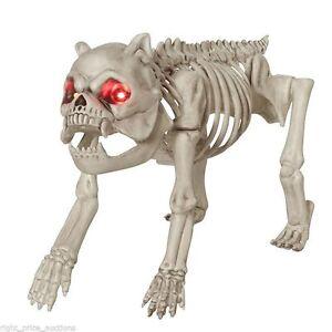 NEW Halloween Life Sized Dog Skeleton with LED Light Up Eyes - Scary, Spooky