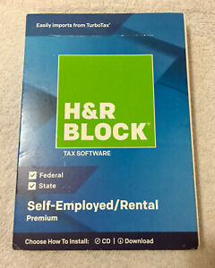 Authentic H&R Block Tax Software Premium 2018 State/Federal Self Employed/Rental