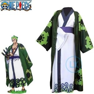 Anime One Piece Roronoa Zoro Cosplay Costume Kimono Robe Suit Adults Halloween
