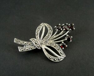 Pin Silver Garnets Red with Marcasites Sterling 925 Dainty Pin Brooch P-303