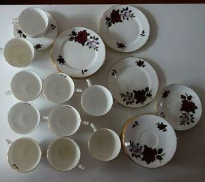 Vintage 32 Piece Set Colclough Bone China Red & White Roses Decoration Tea Set