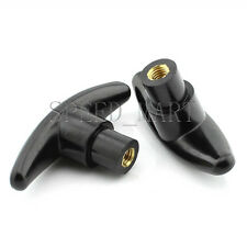 2pcs Black Plastic M6 6mm Female Thread T Type Shaped Head Clamping Nuts Knob