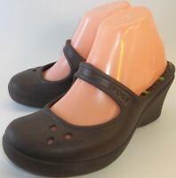 Crocs Womens Shoes Wedge Heels US 8 Brown Croslite Slip-on Mules waterproof 4594
