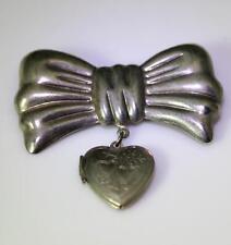 Locket Pendant 2.25� – 8460 Vintage Silver Tin Bow Pin w/Heart