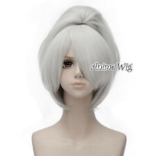 30CM Darker Than Black Yin Short Silver White Hair Cosplay Wig + 50CM Ponytails