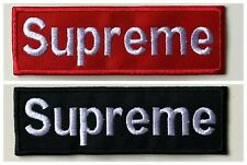 SUPREME - 2 COLOURS - Embroidered Iron on Sew on PATCH