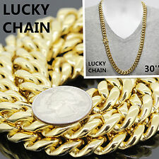 "30""STAINLESS STEEL GOLD HEAVY MIAMI CUBAN LINK CHAIN NECKLACE 13mm 280g RO8"