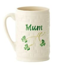 Belleek China Classic, Irish Shamrock Mum/Mother Mug Made in Ireland