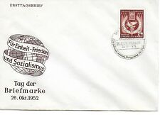 E.Germany '49- Day of the Stamp unaddressed Fdc- 'For Peace and Socialism'. Dove