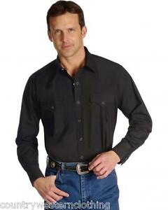 Mens Plain Black Traditional Casual Western Cowboy Shirt Ely Cattleman