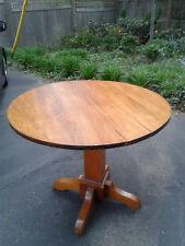 Original Antique Oak Dining Round Table Unmarked Stickley Arts & Crafts, Mission