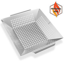 Vegetable Grill Basket - Stainless Steel Barbecue Wok Pan Tray for Grilling