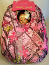 Car Seat Cover Sassy Girl Pink Camo Pink Cozy Fleece Custom Embroidery Antlers