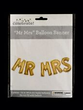 "NIP MR MRS 16"" Gold BALLOON BANNER 5 Pieces MYLAR BALLOONS No HELIUM NEEDED!"