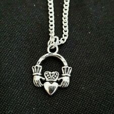 Silver tone Celtic Claddagh necklace 20 inches