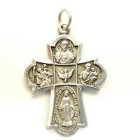 Vintage Sterling Silver Catholic Cross Pendant 1830 O Mary Conceived Without Sin