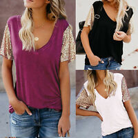 Summer Womens Sequin T Shirt Blouse Pullover Top Ladies Casual Tee V-Neck Tops