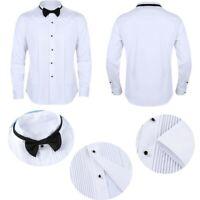 Mens Tuxedo Dress Shirts Wingtip Collar Formal Working Business Uniform +Bow-Tie