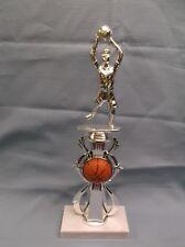 silver youth female basketball trophy award theme riser white marble base