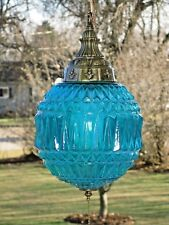 Vintage Turquoise Swag Lamp Type Hanging Ceiling Fixture Light w/ Pull Chain