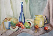 IMPRESSIONIST WATERCOLOR PAINTING STILL LIFE WITH FRUITS