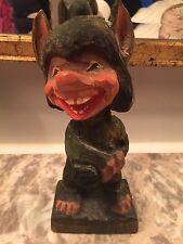 "Vintage Henning Norway Carved 6"" Wooden Troll Figurine"