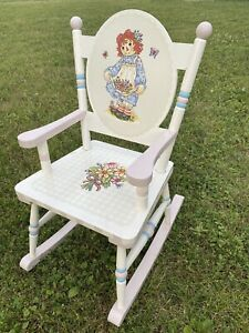 Guidecraft Girl's Raggedy Anne Pink Blue Rocker Wood Rocking Chair