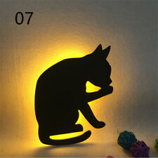 Romantic LED Night Lamp Light Sound Sensor Cat Silhouette Energy Saving Light