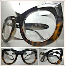 Oversize Vintage Retro Style Clear Lens EYE GLASSES Thick Black & Tortoise Frame