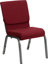 18.5''W BURGUNDY FABRIC STACKING CHURCH CHAIR - SILVER VEIN FRAME