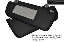 BLACK STITCHING FITS SAAB 93 9-3 2003-2007 2X SUN VISORS LEATHER SKIN COVERS