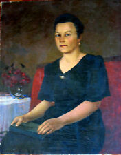 ANTIQUE SOVIET RUSSIAN IMPRESSIONISM OIL PAINTING PORTRAIT1952 KAMANIN