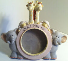 Noah'S Ark Jesus Loves Me Picture Frame By Russ Baby 2 X 3 Round Opening